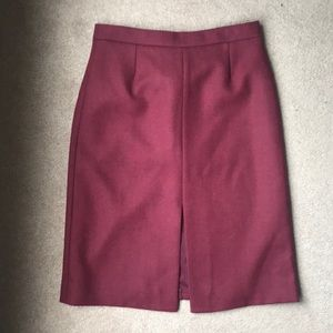 J.Crew Collection Wool Cranberry Pencil Skirt 12